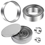 12 Piece Circle Stainless Pastry Donut Doughnut Cutter Set Round Cookie Cutters Circle Baking Metal Ring Molds