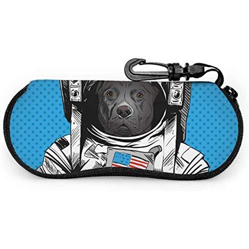 Mei-shop Staffordshire Bull Terrier Perro Traje de astronauta Estuche para gafas para niños Estuche para gafas de sol Estuche con cremallera Estuche suave Estuches para gafas