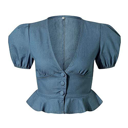 NOBRAND Blusas y Blusas de Moda para Mujer Blusa de Mezclilla con Cuello en V Sexy Blusa de Mezclilla...