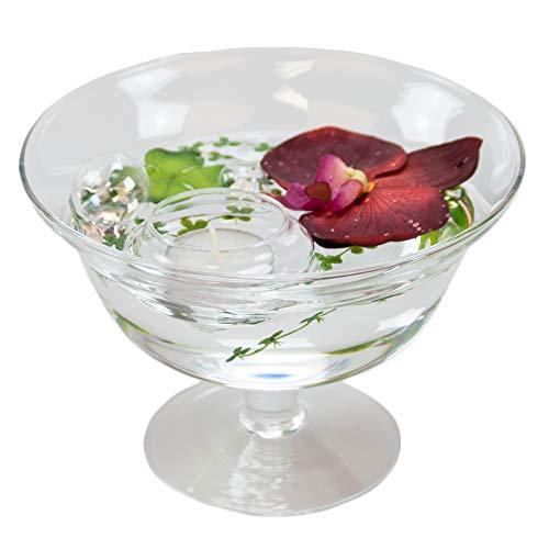 Ronde glazen schaal Roxy 76 hoogte 13 cm ø 18 cm. Vlakke glazen schaal op voet met decoratie orchidee rood decoratieve schaal van Glaskönig