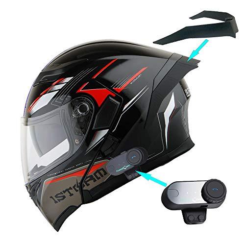 1Storm Motorcycle Modular Full Face Flip up Dual Visor Helmet + Spoiler + Motorcycle Bluetooth Headset: HB89 Storm Red