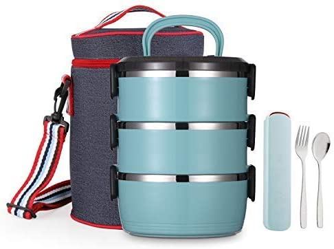TileMiun 3-Tier Insulated Bento Genuine Free Shipping Lunch free shipping Box Bag Utens with