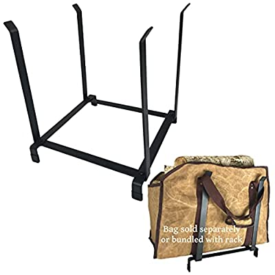 LivinWell Firewood Bag Holder Rack Protects Floors Showcases Your Log Carrier Tote Elevated Solid Steel Landing Space Rubber Feet Vertical Sides Safely Contain Bagged or Loose Wood Bundles by LivinWell