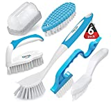 6 Pack Household Deep Cleaning Brush Set-Kitchen Cleaning Brushes, Includes Scrub Brush/Dish Brush/Bottle Brush/Grout Corner Brushes/Crevice Brush/Shoe Brush/ for Bathroom, Floor, Tub, Shower, Tile
