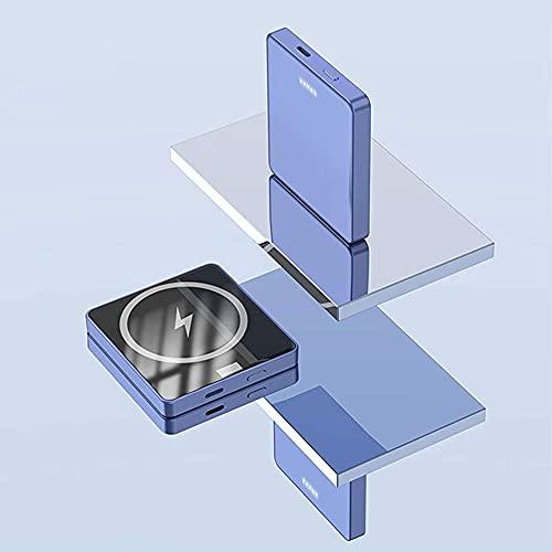 Fringe Trim Cargador Inalámbrico Magnético Power Bank 5000mah, Fas Inalámbricos Powerbank, Compatible con Teléfono 12 / 12pro / 12pro MAX / 12 Mini(Color:Luxury Blue 5000mah)