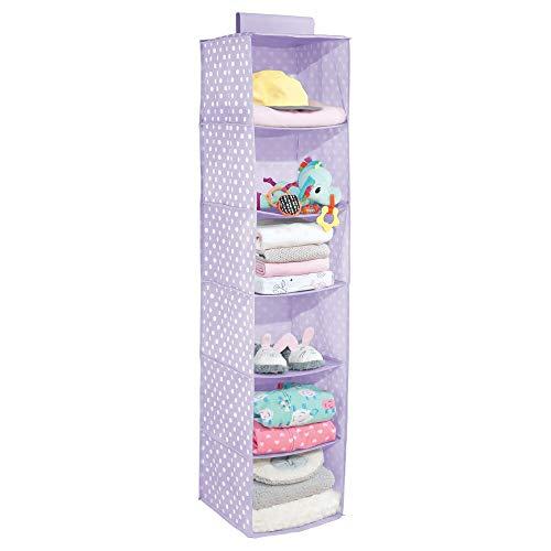mDesign Estantería Colgante – Práctico Organizador de armarios para Barra con 6 estantes – Zapatero Colgante Plegable con Alegre Estampado para Cuarto Infantil – Lila/Puntos Blancos