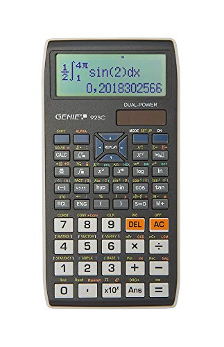 Genie 92SC wissenschaftlicher Taschenrechner/Schulrechner mit 580 Funktionen, 10-stelligem/2 Zeiligem Display und Ein-/Ausgabe wie im Schulbuch, Dual-Power (Solar/Batterie), schwarz