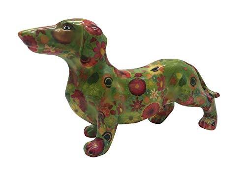 Pomme Pidou Spardose Dackel Frankie-grün Blumen-Hund-Sparbüchse-Sparschwein-Geldgeschenk-D