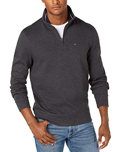 Tommy Hilfiger Men's 1/4 Zip Mockneck Sweatshirt,Charcoal Grey Heather,SM