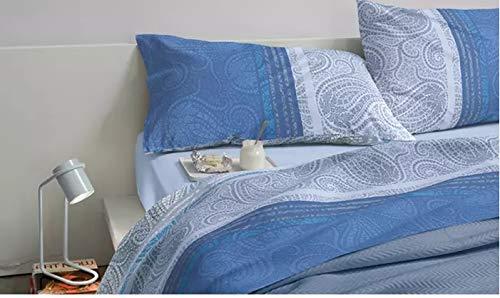 Bassetti Completo Letto Matrimoniale 2 Due PIAZZE Dream 100% Cotone sopra + sotto + 2 FEDERE (Sultana Blue Moon)