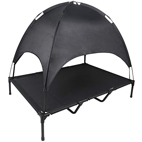 YEP HHO Outdoor Dog Bed Elevated Pet Cot with Canopy Portable for Camping or Beach Durable Raised Mesh Cot Cooling Dog Bed with Removable Canopy Shade Extra Carrying Bag (Black)
