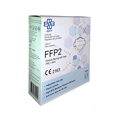 FFP2 Atemschutzmaske – Schachtel à 10 Stück CE-Zertifiziert mit verstellbarem Gummiband und anpassbarem Nasenbügel| 5 Filtrationsschichten, Schützt drinnen und draußen |QZY| - 5