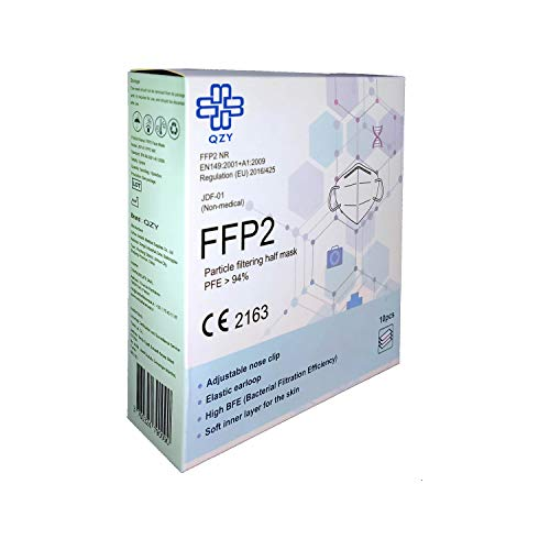 FFP2 Atemschutzmaske - Schachtel à 10 Stück CE-Zertifiziert mit verstellbarem Gummiband und anpassbarem Nasenbügel| 5 Filtrationsschichten, Schützt drinnen und draußen |QZY| - 8