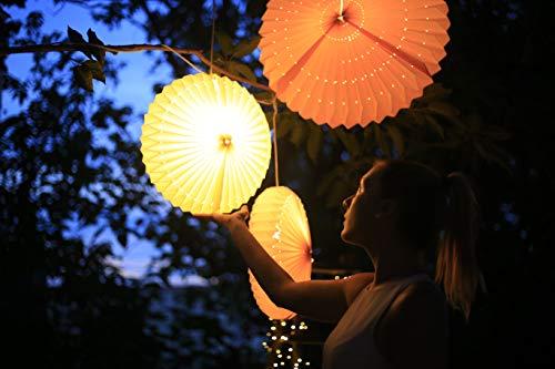 living choice LED Lampion 40 cm Sunny weiß außen innen wetterfest Deko Garten Party Sommer Laterne Balkon Outdoor Indoor Terrasse 3m Kabel Glühlampe 523591