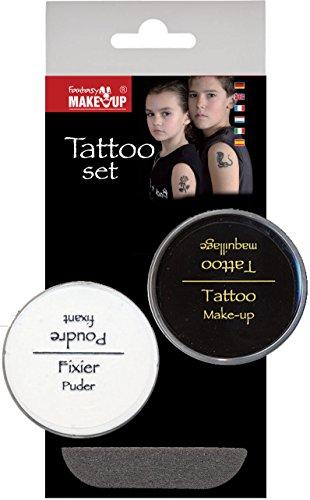 KREUL Fantasy Tattoo Make Up plus Fixier Puder Set, 1er Pack (1 x 3 Stück)