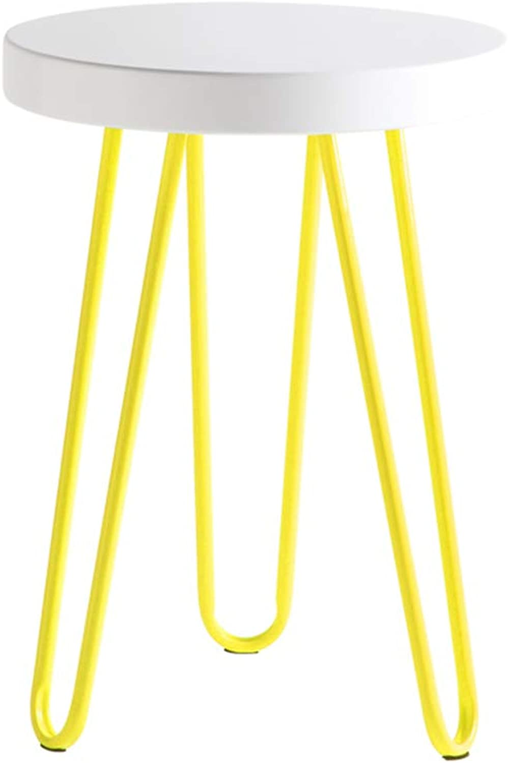 Stool Footstool Home Nordic Iron Art High Stool Living Room Circle Stool Sofa Stool Small Stool Creative Dressing Chair GAOFENG (color   Yellow, Size   32  45cm)