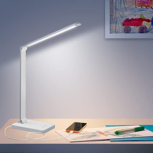 Led Desk Lamp, Dimmable Desk Lamps for Home Office with USB Charging Port, Eye Protection Touch Control Table Lamp with Memory Function 5 Lighting Modes 3 Brightness Levels