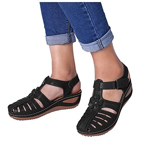 Women Summer Sandals Ladies Wedge Vintage Bohimian Hook & Loop Hollow Out...