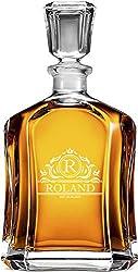 AIGAT Trauzeugengeschenke Whiskykaraffe 700ml, Personalisierte Karaffe mit Monogramm, Glas