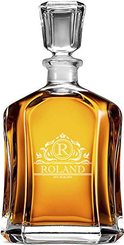 Regalos Para Los Padrinos Decantador De Whisky 700ml, Decantador Personalizado Monogramado, Vidrio