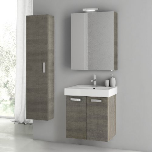 Great Deal! ACF C57-637509908638 Cubical 2 Collection Vanity Set, Grey Oak