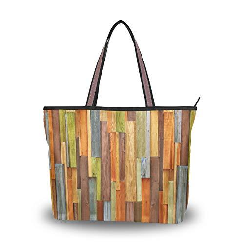 RXYY - Bolso de mano de madera con textura colorida para mujer, gran capacidad, asa superior, color Multicolor, talla Medium