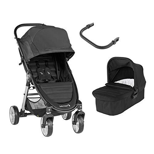 Baby Jogger City Mini 2 Duo Jet - Cochecito compacto de 4 ruedas + capazo + barra delantera en color negro