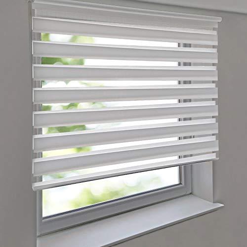Doppelrollo PREMIUM 120 x 180 cm weiß - Duorollo Vario Seitenzug zum Anschrauben freihängend für Wandmontage und Deckenmontage - inkl. Metallträger