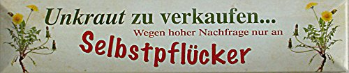 Mauvaises Herbes à vendre seulement à lui-même pflücker Plaque de rue en fer-blanc 16 x 3,5 cm Str magnétique de M 19