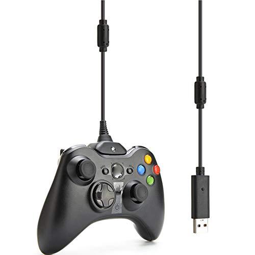 Fontsime Xbox360ワイヤレスコントローラー用USB充電器再生および充電ケーブルコード充電ケーブル充電線黒