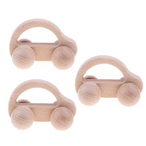 Sharplace 3 Piezas Juguete Montessori Sonajero de Agarre de Mano Madera Forma de Coche Juego Educativo para Niños