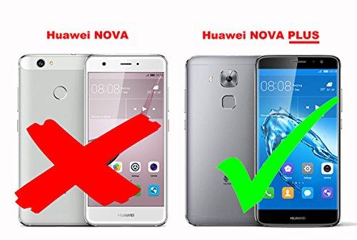 Cadorabo Hülle für Huawei NOVA Plus - Hülle in Karmin ROT – Handyhülle mit Kartenfach und Standfunktion - Case Cover Schutzhülle Etui Tasche Book Klapp Style - 2