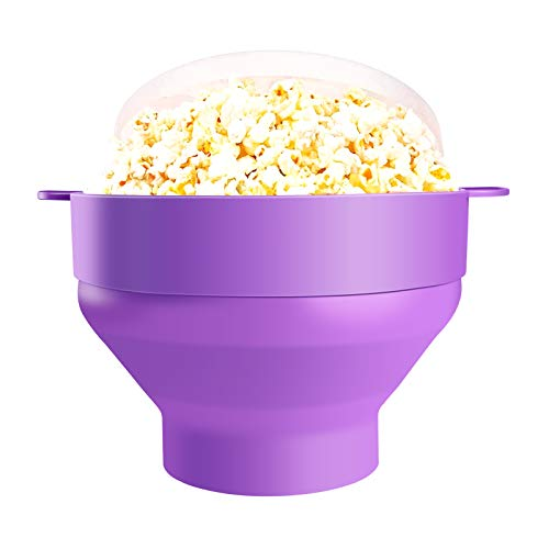Best Bargain Healthy Microwave Popcorn Maker Silicone Collapsible Bowl Hot Air Pop Any Kernel Corn BPA Free Dishwasher Safe – LFGB Certificate(Purple)
