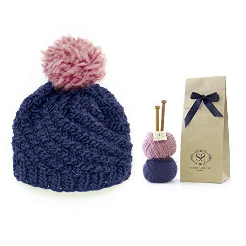 Stitch & Story Luca Pom-Pom Hat - Beginner Knit Kit Hat