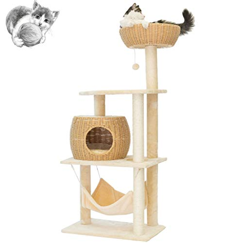 Cat tree Árboles para Gatos Quality Cat Tower Pegamento De Ratán Escalada Marco Cómodo Cat Litter One DIY Cat Furniture Cat Sisal Column Agarre Junta Multi-Layer