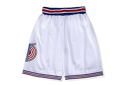 CNALLAR Herren-Basketball-Shorts, Film-Kostüm, 90er-Jahre, Weltraum-Tune, Squad-Hose - Wei� - Groß