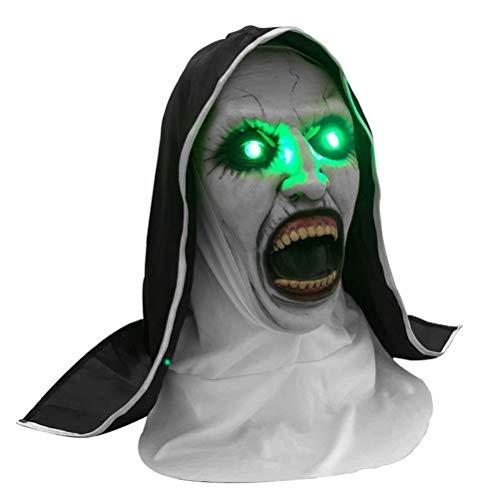 Die Nun Horror Maske, Cosplay Scary Latex Masken Halloween Kostüm Valak Scary Latex Masken mit Kopftuch Schleier Cosplay Maske, Halloween Cosplay Party Streich Requisiten Full Head Cosplay