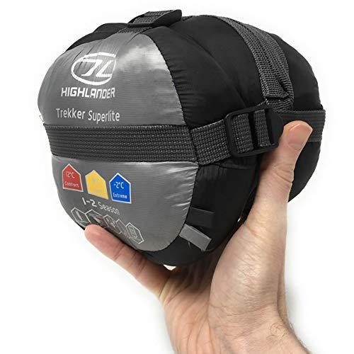 Highlander Trekker Superlite 1-2 Season Lightweight Sleeping Bag, Ultralite Backpacking Travel Mummy...
