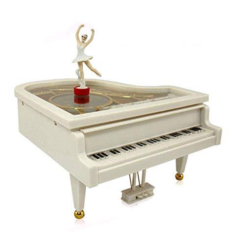 nlvtaowa XUEYE11 Schmuckkästchen Mädchen-Piano Music Box Mechanische Klassische Spieluhr Ballerina-Ballett-Mädchen, das auf weißes Klavier-Aufziehuhrwerk Tanzt,United States