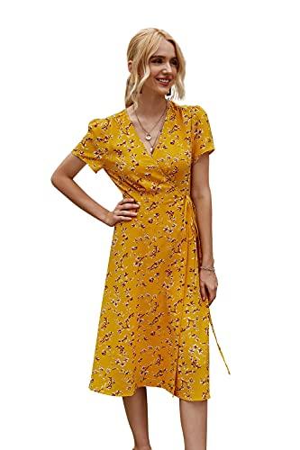 moroess Vestido de playa con cuello en V, para mujer, de verano, línea A, elegante, de gasa, con flores amarillo XS