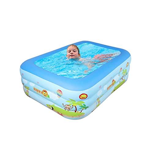 Piscina gonfiabile per bambini, 140 x 100 x 50 cm, rettangolare, piscina per bambini, per esterni, giardino, feste in acqua estiva