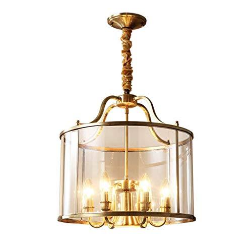 LJF Lampe . Lámpara de araña All-Copper Living Room dormitorio restaurante lámpara de araña de estilo europeo habitación de hotel sala de estudio estudio lámpara de cristal