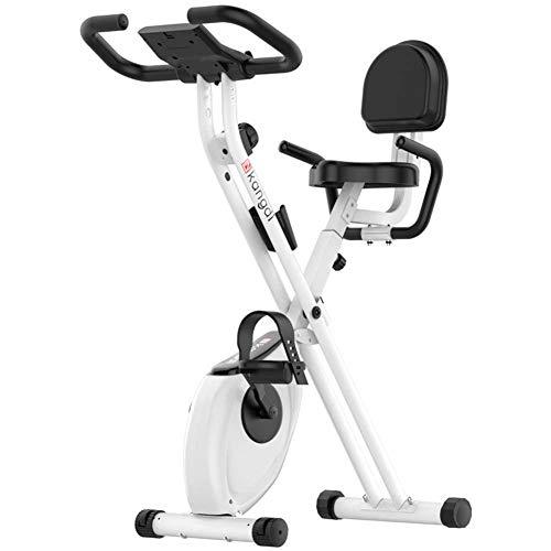 NFJ Excerise - Bicicleta de ejercicio plegable, compacta y reclinable, con soporte para tableta, asiento grande y cómodo, color negro