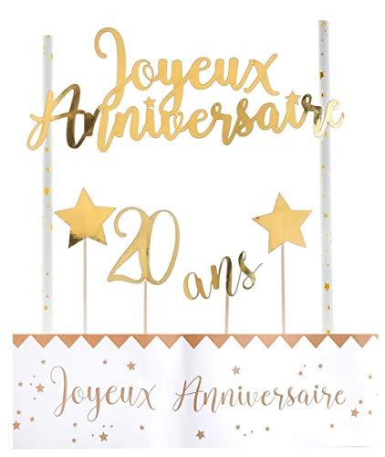 SANTEX 6221-20, Déco de gâteau Anniversaire métallisé âge 20 Ans