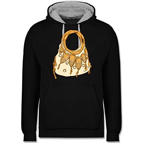 Shirtracer Typisch Frauen - Handtasche - S - Schwarz/Grau meliert - verspielt - JH003 - Hoodie zweifarbig und Kapuzenpullover für Herren und Damen