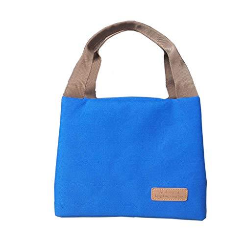 Sac à lunch isolé réutilisable, sac à main portable et durable pour pique-nique pour hommes, femmes et enfants - noir (Couleur : Bleu)