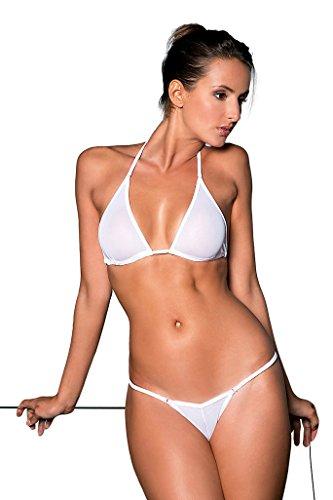 my sexy bikini - Micro Bikini String + Tanga durchsichtig in Netz-Stoff - DREI Teilen - Cameltoe Weiß (Unter: 38/40   BH: 2)
