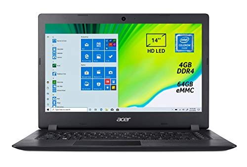 "Acer Aspire 1 A114-32-C2A6 Notebook con Processore Intel Celeron N4020, Ram da 4 GB DDR4, eMMC 64 GB, Display 14"" HD LED LCD, Scheda Grafica Intel UHD 600, Office 365, Windows 10 Home in S mode, Nero"