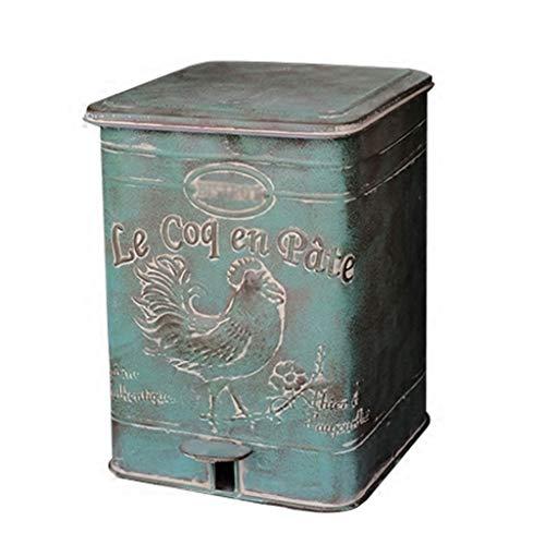 SFF Papelera decorativa retro vintage de hierro forjado estilo pedal, cubo de basura grande, contenedor de basura para jardín, baños, oficinas en casa