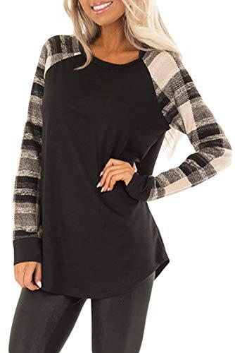 FANGJIN Damen schwarz-weiß gestreiftes Langarmshirt Tuniken Casual Bluse Langarm Hals Basic T-Shirt Tops schwarz XL